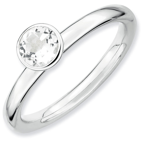 Sterling Silver Stackable High Profile 5mm White Topaz Ring