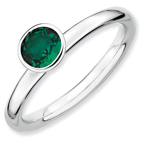 Sterling Silver Stackable High Profile 5mm Created Emerald Ring