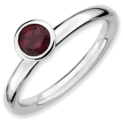 Sterling Silver Stackable High Profile 5mm Rhodolite Garnet Ring