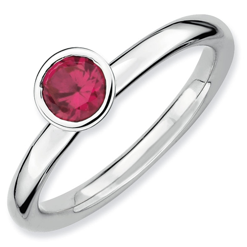 Sterling Silver Stackable High Profile 5mm Round Created Ruby Ring