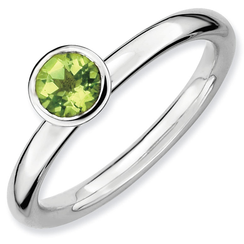 Sterling Silver Stackable High Profile 5mm Round Peridot Ring