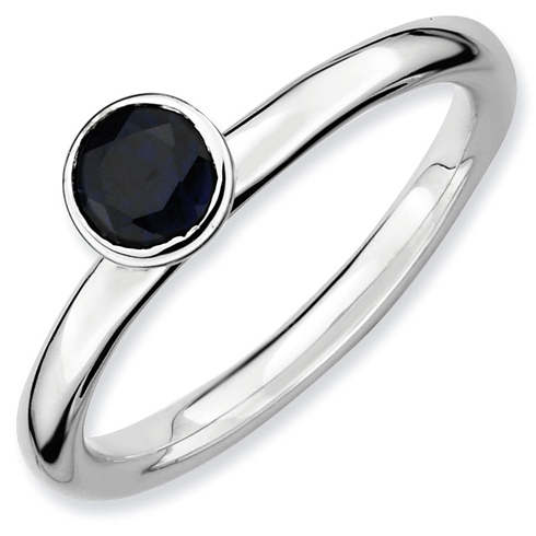 Sterling Silver Stackable High Profile 5mm Created Sapphire Ring