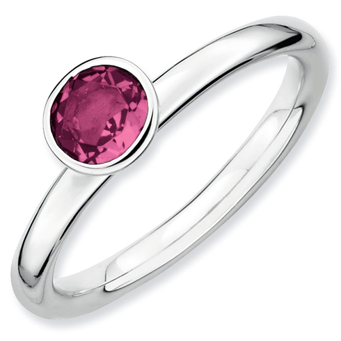 Sterling Silver Stackable High Profile 5mm Pink Tourmaline Ring