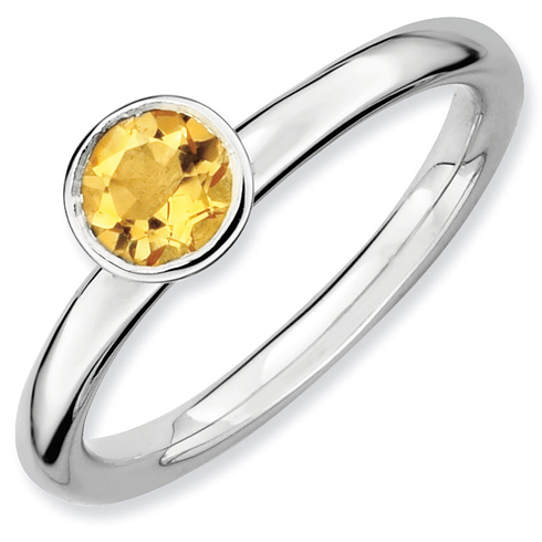 Sterling Silver Stackable Expressions High 5mm Round Citrine Ring