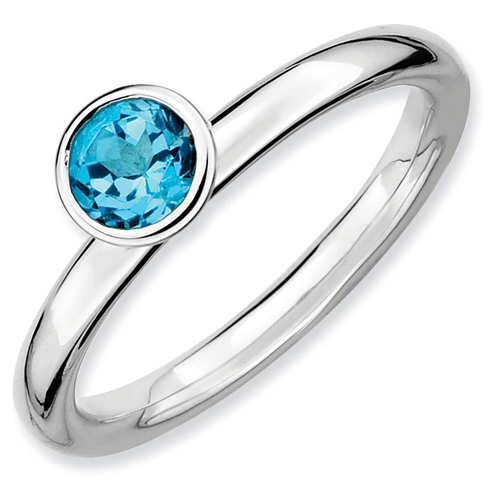Sterling Silver Stackable Expressions High 5mm Blue Topaz Ring