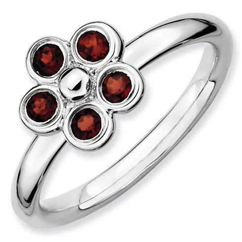 Sterling Silver Stackable Garnet Flower Bezel Ring
