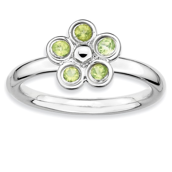 Sterling Silver Stackable Expressions Peridot Flower Ring