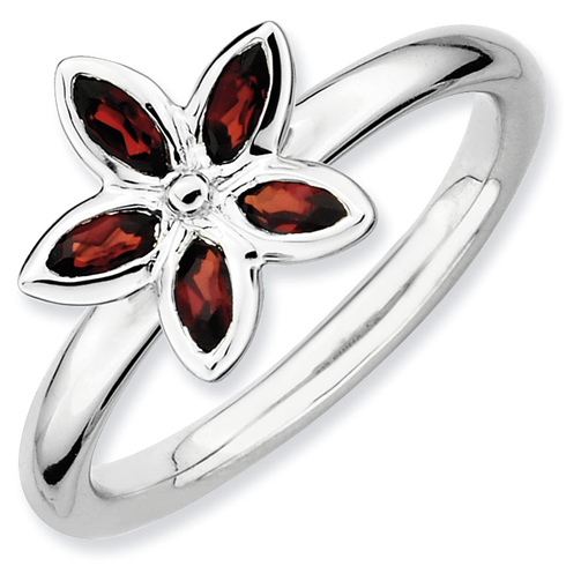 Sterling Silver 1/2 ct Garnet Flower Ring