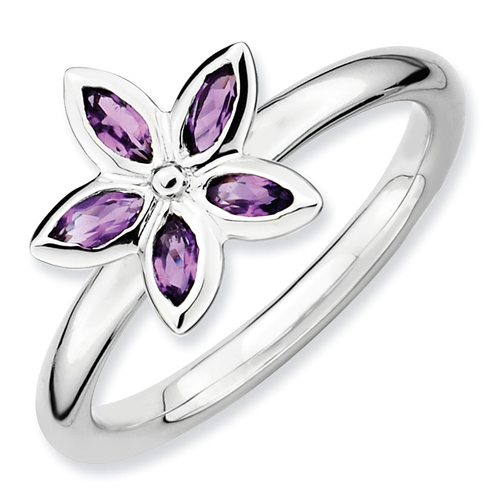 Sterling Silver Stackable Expressions Amethyst Flower Ring