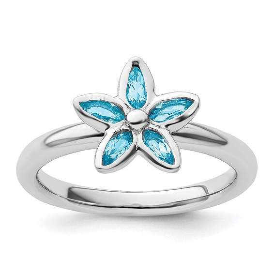 Sterling Silver Stackable Expressions Blue Topaz Marquise Flower Ring