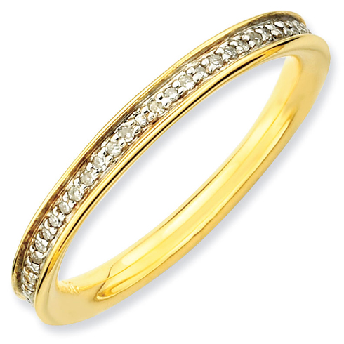 Sterling Silver 1/5 ct Diamond Gold-plated Ring