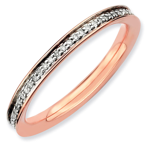 Sterling Silver 1/5 ct Diamond Pink Gold-Plated Ring