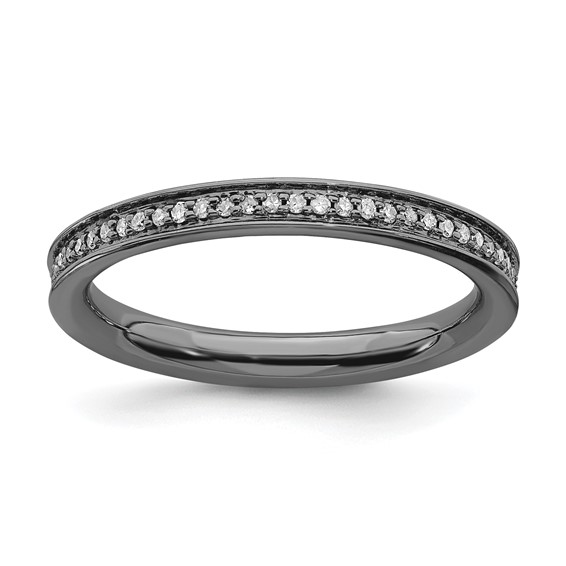 Sterling Silver 1/5 ct Diamond Black-plated Ring