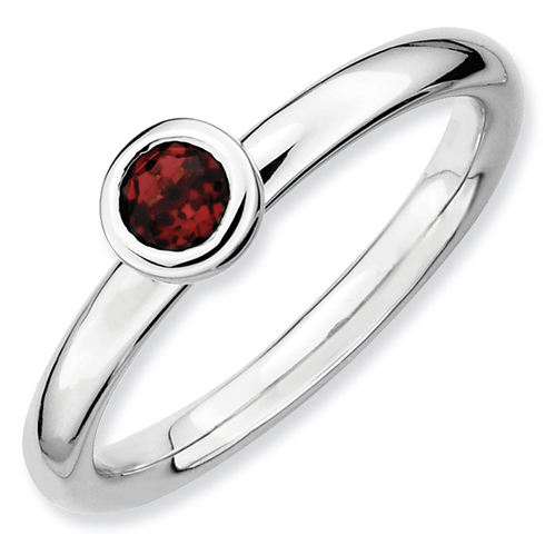 Sterling Silver Stackable Low Profile 4mm Round Garnet Ring