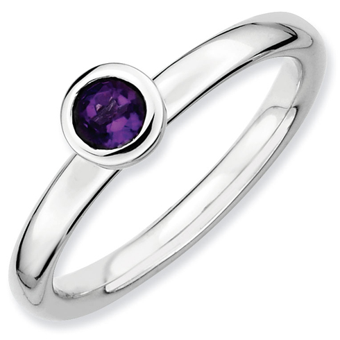 Sterling Silver Stackable Low Profile 4mm Round Amethyst Ring
