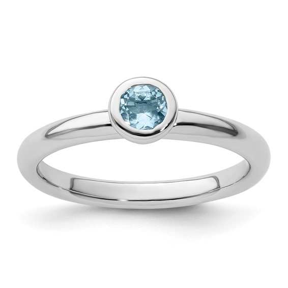Sterling Silver Stackable Low Profile 4mm Round Aquamarine Ring