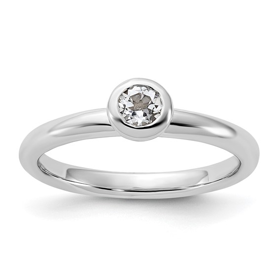Sterling Silver Stackable Low 4mm Round White Topaz Ring