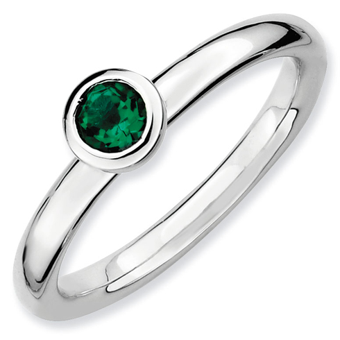 Sterling Silver Stackable Low Profile 4mm Created Emerald Ring
