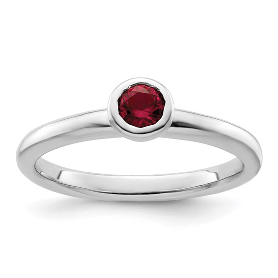 Sterling Silver Stackable Expressions Low 4mm Round Created Ruby Ring