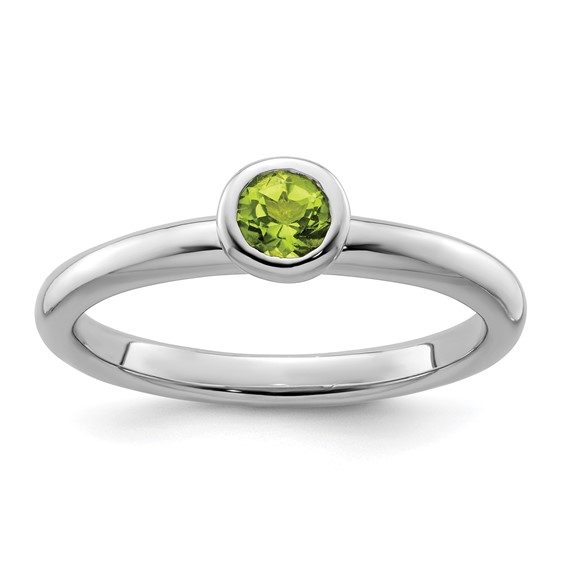 Sterling Silver Stackable Expressions Low 4mm Round Peridot Ring