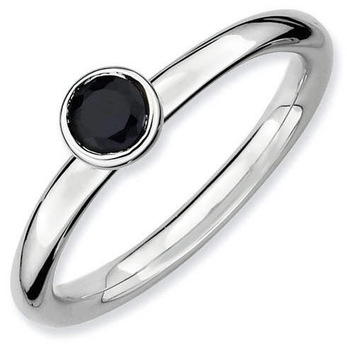 Sterling Silver Stackable Low 4mm Created Sapphire Ring