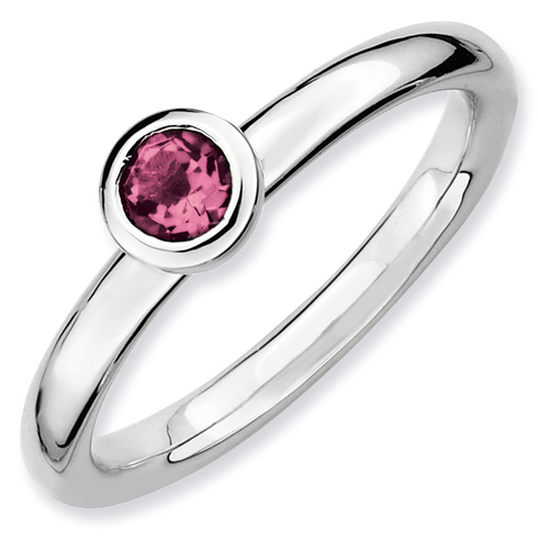 Sterling Silver Stackable Low 4mm Pink Tourmaline Ring