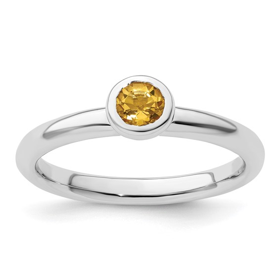 Sterling Silver Stackable Expressions Low 4mm Citrine Ring