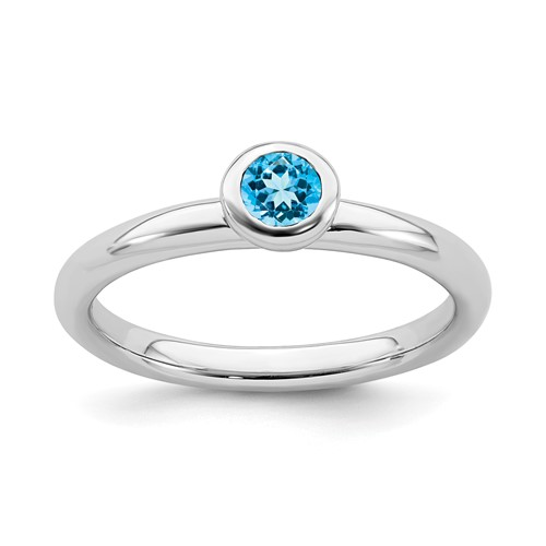 Sterling Silver Stackable Low Profile 4mm Round Blue Topaz Ring