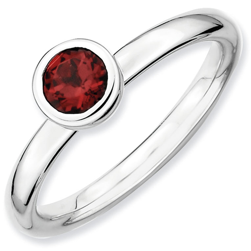 Sterling Silver Stackable Expressions Low 5mm Round Garnet Ring