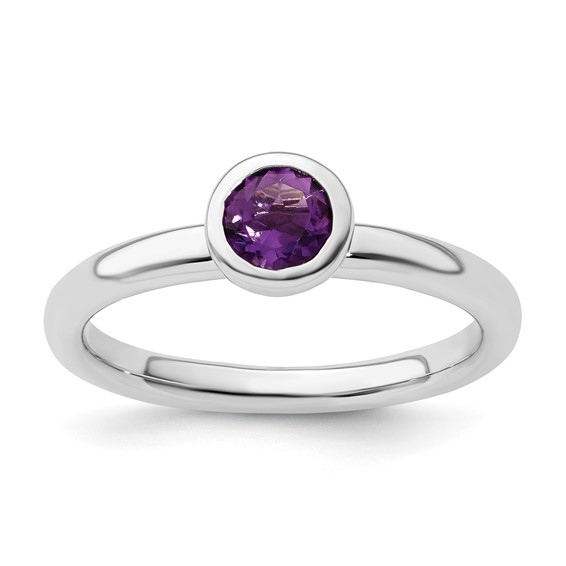 Sterling Silver Stackable Expressions Low 5mm Round Amethyst Ring