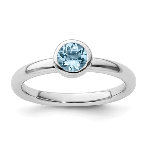 Sterling Silver Stackable Low Profile 5mm Round Aquamarine Ring