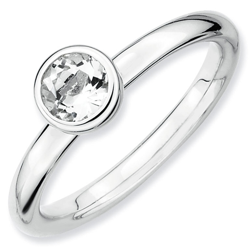 Sterling Silver Stackable Low Profile 5mm Round White Topaz Ring