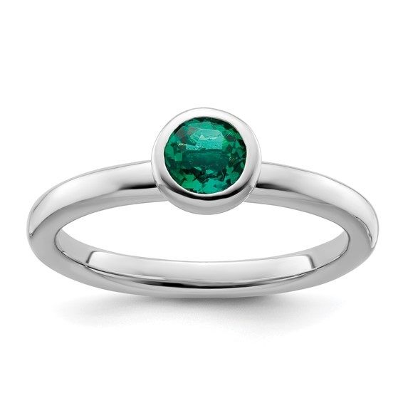Sterling Silver Stackable Low Profile 5mm Created Emerald Ring