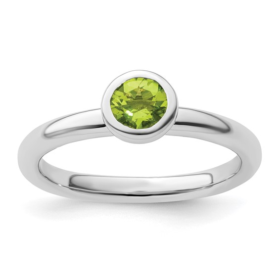 Sterling Silver Stackable Low Profile 5mm Round Peridot Ring