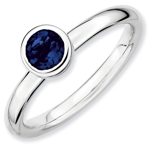 Sterling Silver Stackable Low 5mm Created Sapphire Ring