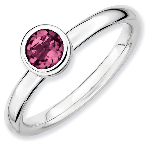 Sterling Silver Stackable Low Profile 5mm Pink Tourmaline Ring