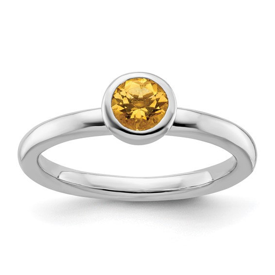 Sterling Silver Stackable Low Profile 5mm Citrine Ring