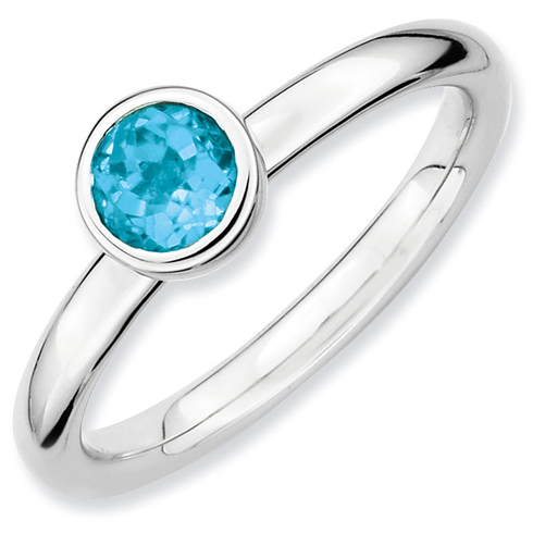Sterling Silver Stackable Low Profile 5mm Blue Topaz Ring
