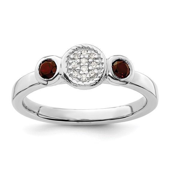 Sterling Silver Stackable Garnet & Diamond Cluster Ring