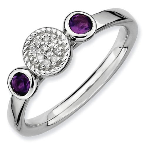 Sterling Silver Stackable Amethysts & Diamond Cluster Ring