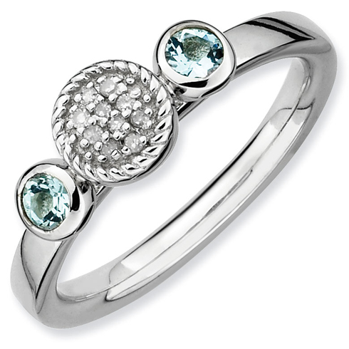 Sterling Silver Stackable Aquamarines & Diamond Cluster Ring
