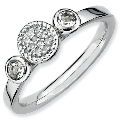 Sterling Silver Stackable White Topaz & Diamond Cluster Ring