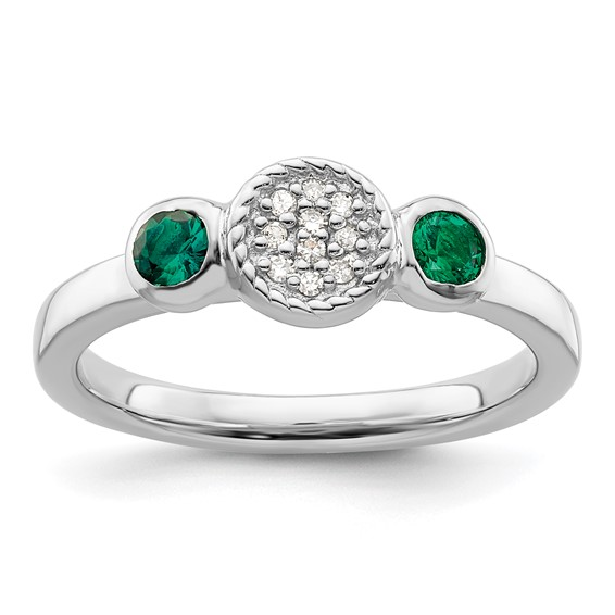 Sterling Silver Stackable Created Emerald & Diamond Ring