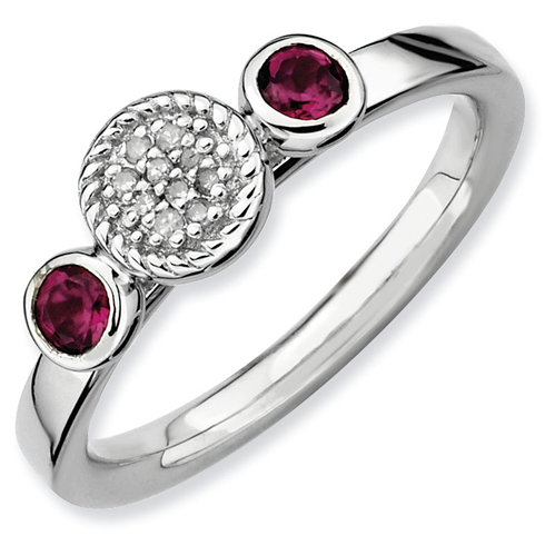 Sterling Silver Stackable Rhodolite Garnet Diamond Cluster Ring