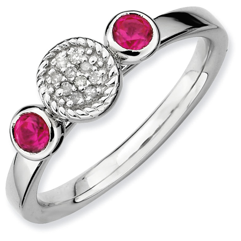 Sterling Silver Stackable Expressions Created Ruby & Diamond Ring