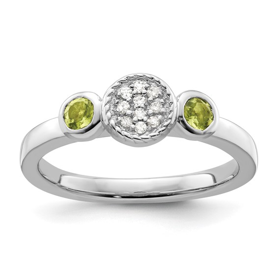 Sterling Silver Stackable Expressions Peridot and Diamond Ring