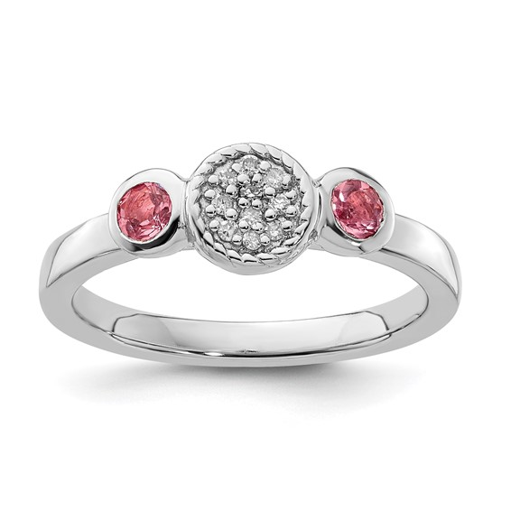 Sterling Silver Stackable Pink Tourmaline Diamond Cluster Ring