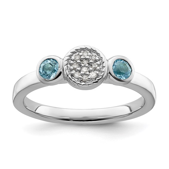 Sterling Silver Stackable Blue Topaz and Diamond Cluster Ring