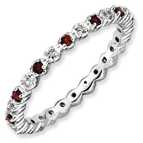 Sterling Silver Stackable 1 4 Ct Garnet Diamond Eternity