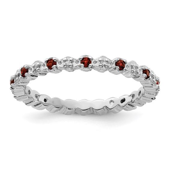 Sterling Silver Stackable 1/4 ct Garnet & Diamond Eternity Ring